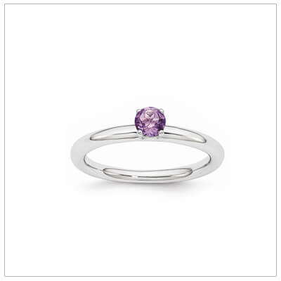 Classic styled solitaire birthstone ring for February in sterling silver.