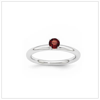 Classic styled solitaire birthstone ring for January in sterling silver.