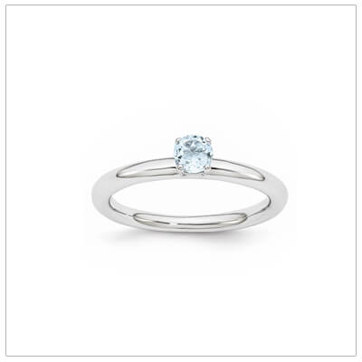 Classic styled solitaire birthstone ring for March in sterling silver. Sizes available for children, teens, and adults.