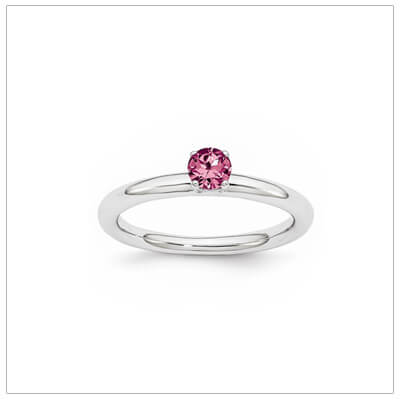 Classic styled solitaire birthstone ring for October in sterling silver. Sizes available for children, teens, and adults.