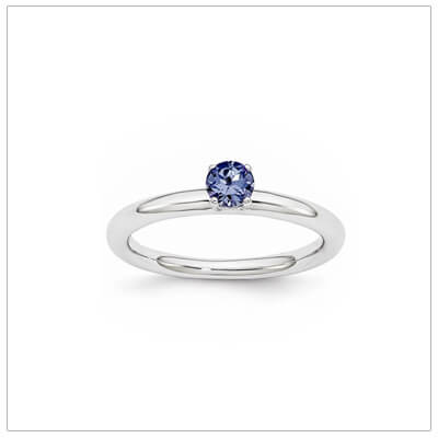 Classic styled solitaire birthstone ring for September in sterling silver. Sizes available for children, teens, and adults.