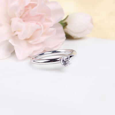 Sterling silver April birthstone ring for girls with a solitaire birthstone.