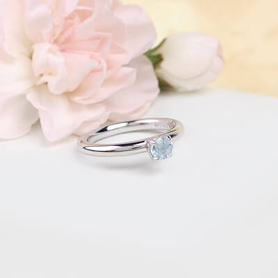 Sterling silver March birthstone ring for girls with a solitaire birthstone.