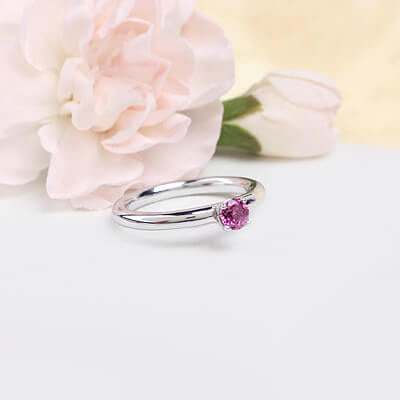 Sterling silver October birthstone ring for girls with a solitaire birthstone.