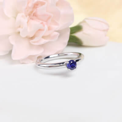 Sterling silver September birthstone ring for girls with a solitaire birthstone.