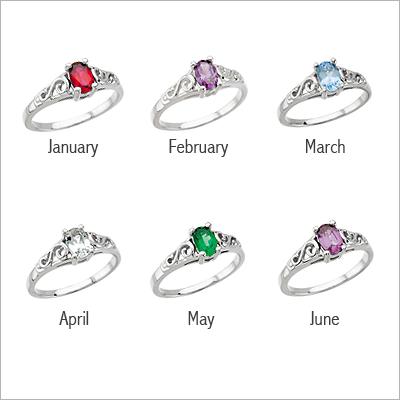 Girls Sterling Swirl Birthstone Ring - 1403