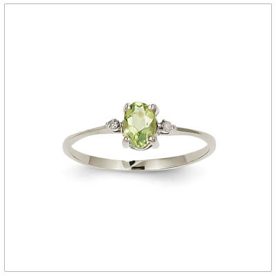 14kt white gold diamond and birthstone ring for August with genuine peridot; 4 sizes available.