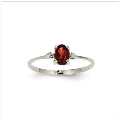 14kt white gold diamond and birthstone ring for January with genuine garnet; 4 sizes available.