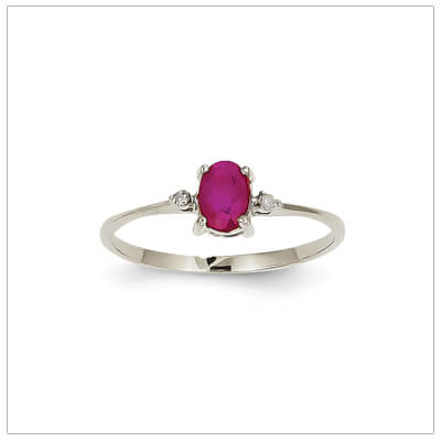 14kt white gold diamond and birthstone ring for July with genuine ruby; 4 sizes available.