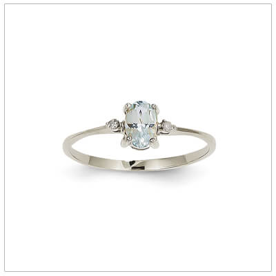 14kt white gold diamond and birthstone ring for March with genuine aquamarine; 4 sizes available.