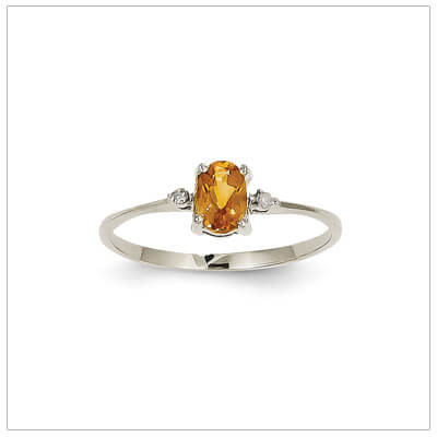 14kt white gold diamond and birthstone ring for November with genuine citrine; 4 sizes available.