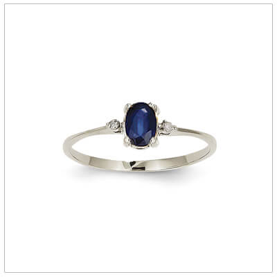 14kt white gold diamond and birthstone ring for September with genuine sapphire; 4 sizes available.