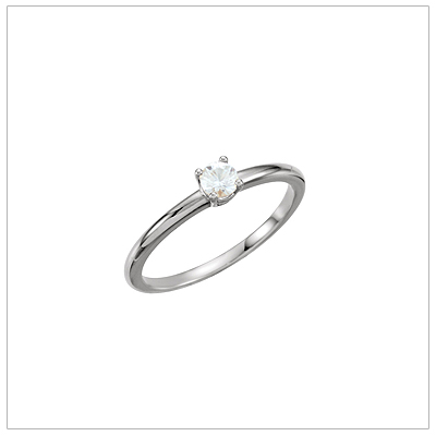 14kt white gold solitaire-style birthstone ring for April.