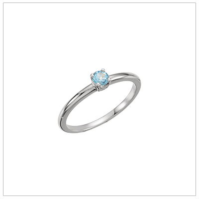 14kt white gold solitaire-style birthstone ring for December.