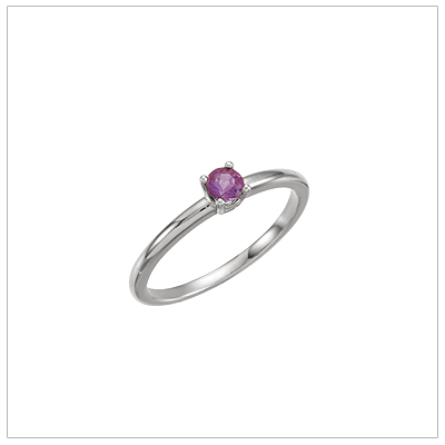 14kt white gold solitaire-style birthstone ring for February.