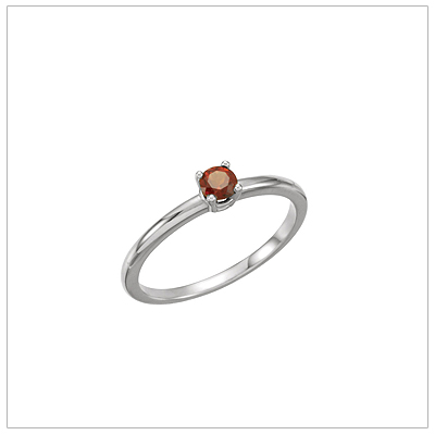 14kt white gold solitaire-style birthstone ring for January.