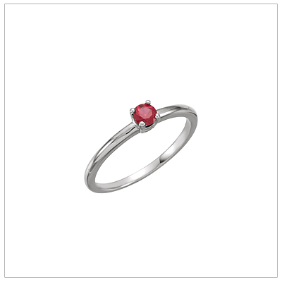 14kt white gold solitaire-style birthstone ring for July.