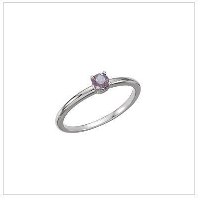 14kt white gold solitaire-style birthstone ring for June.