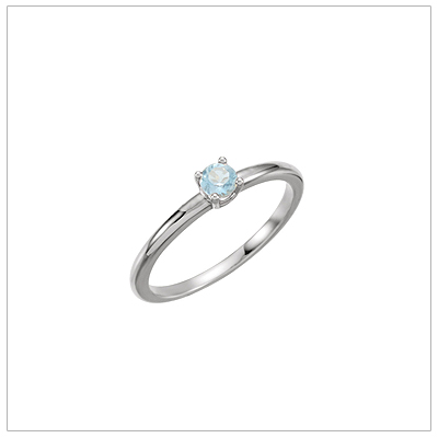 14kt white gold solitaire-style birthstone ring for March.