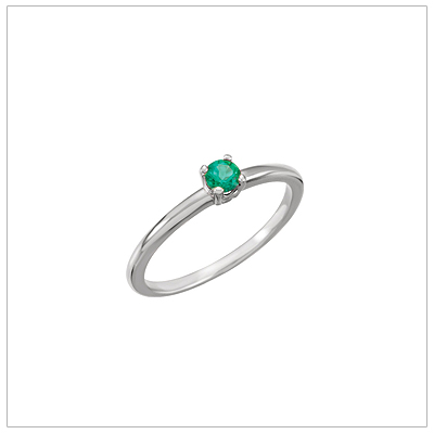 14kt white gold solitaire-style birthstone ring for May.
