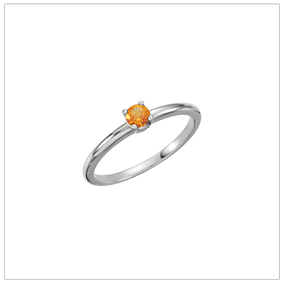 14kt white gold solitaire-style birthstone ring for November.