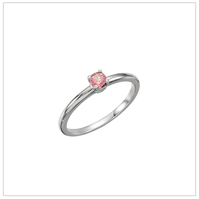 14kt white gold solitaire-style birthstone ring for October.