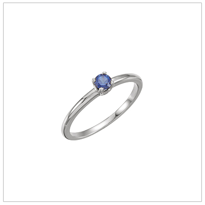 14kt white gold solitaire-style birthstone ring for September.