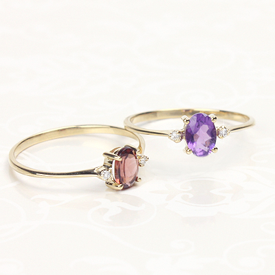 14kt yellow gold diamond and birthstone rings for older children, tweens, and teens with genuine birthstones.