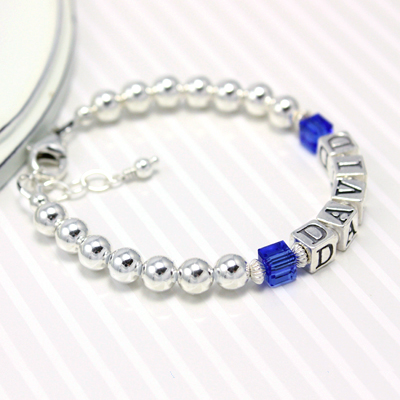Boys bracelets with cube birthstones and all sterling silver.