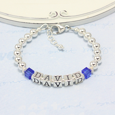 Boys bracelets with birthstone cubes and all sterling silver.