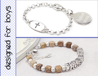 Boys bracelets in sterling silver for Baptism and Christening plus boys bracelet in brown cube gemstone with personalized name.