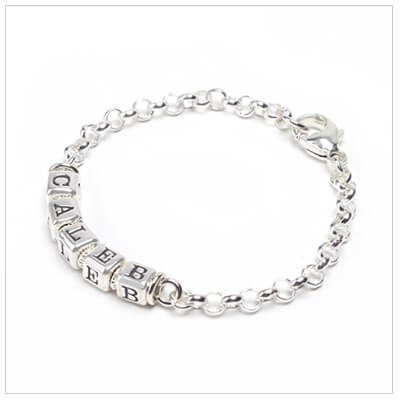 All sterling baby boy bracelets with sterling rolo chain, perfect for infants and toddlers.