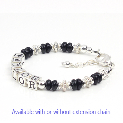 Boys name bracelet in sterling silver and abacus-shaped black onyx.