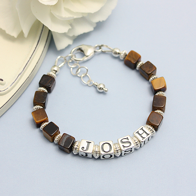 Handsome boys bracelets with an upscale look. Brown tigereye gemstone.
