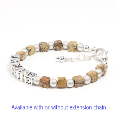 Boys name bracelet in brown gemstone with sandblasted sterling silver.