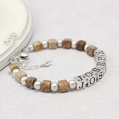 Boys bracelets in matte sterling silver and handsome picture jasper.