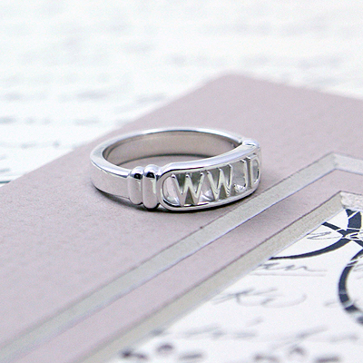 Christian ring for boys in sterling silver; 3 sizes available.