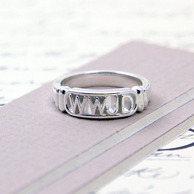Silver Christian ring for boys with 'WWJD' on front. Boys ring available in 3 sizes.