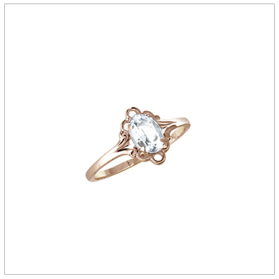 Girls 10kt yellow gold April birthstone ring with a synthetic birthstone.