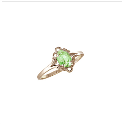 Girls 10kt yellow gold August birthstone ring with a synthetic birthstone.