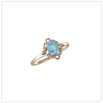 Girls 10kt yellow gold December birthstone ring with a synthetic birthstone.