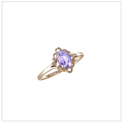 Girls 10kt yellow gold February birthstone ring with a synthetic birthstone.