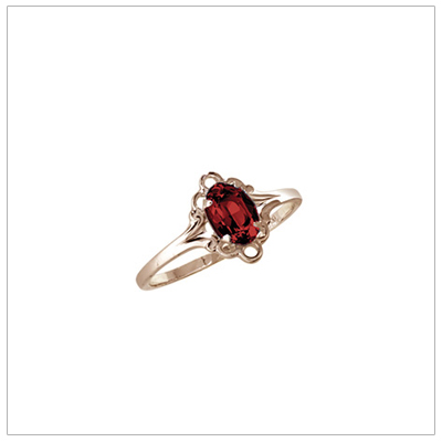 Girls 10kt yellow gold January birthstone ring with a synthetic birthstone.