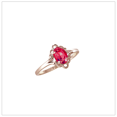 Girls 10kt yellow gold July birthstone ring with a synthetic birthstone.