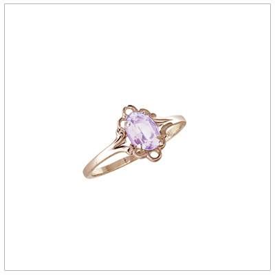 Girls 10kt yellow gold June birthstone ring with a synthetic birthstone.