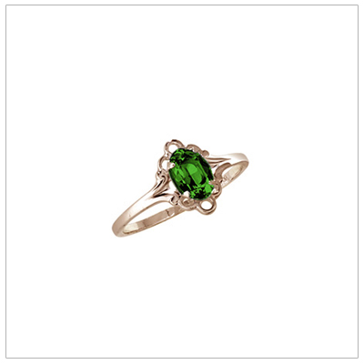 Girls 10kt yellow gold May birthstone ring with a synthetic birthstone.