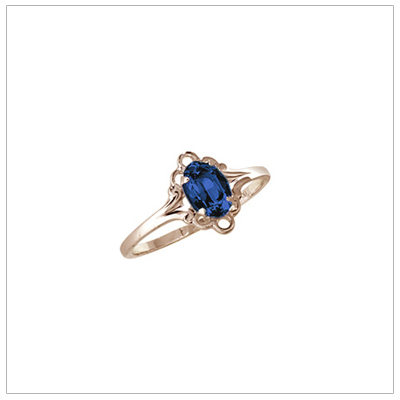 Girls 10kt yellow gold September birthstone ring with a synthetic birthstone.