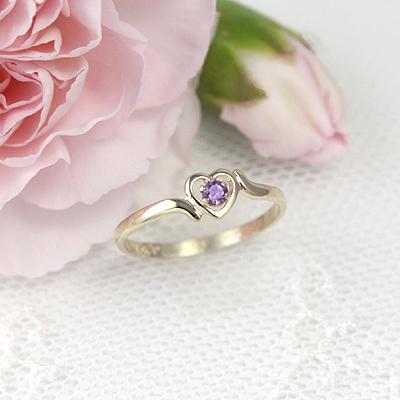 10kt Gold Birthstone Heart Ring