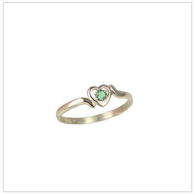 Childrens 10kt gold heart birthstone ring for August.