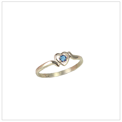 Childrens 10kt gold heart birthstone ring for December.